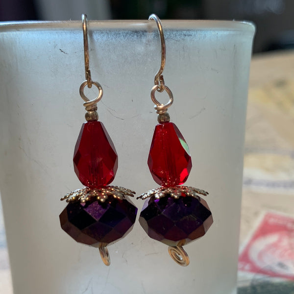 Tiny Evil Genius Earrings: purple with two shades of red