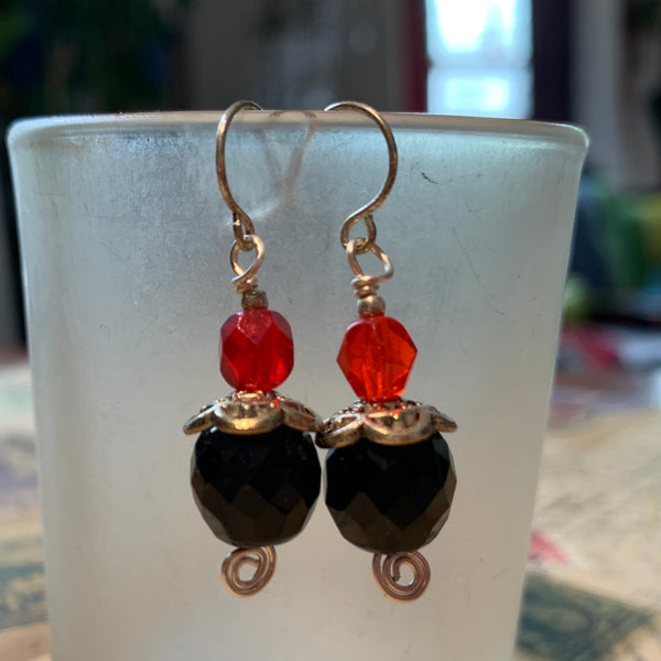 Tiny Evil Genius Earrings: black with two shades of orange