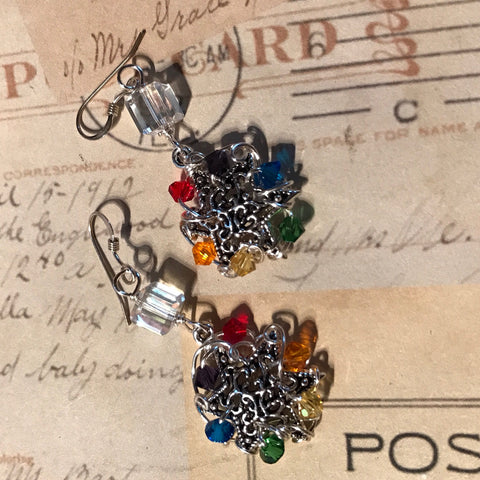 Rainbow Star of David Earrings