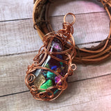 Personal Collection: dichroic glass and copper pendant