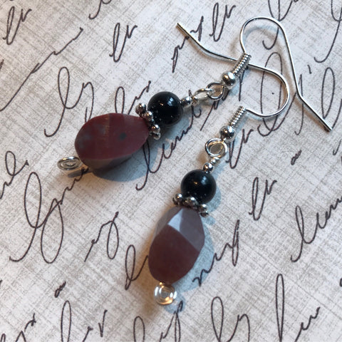Tiny Evil Genius Earrings: jasper and obsidian