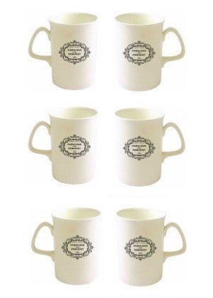"Pre-Order - ""Fabulous and Feminist"" Opal Bone China Mug Set of 6"
