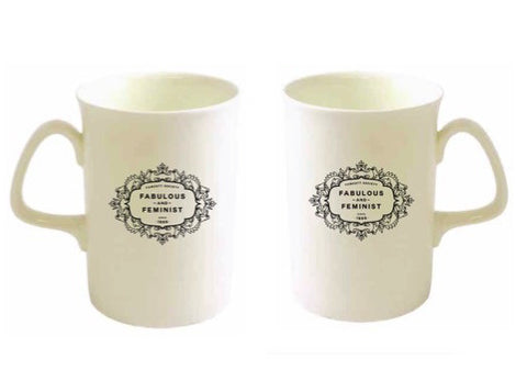 "Pre-Order - ""Fabulous and Feminist"" Opal Bone China Mug Set of 2"