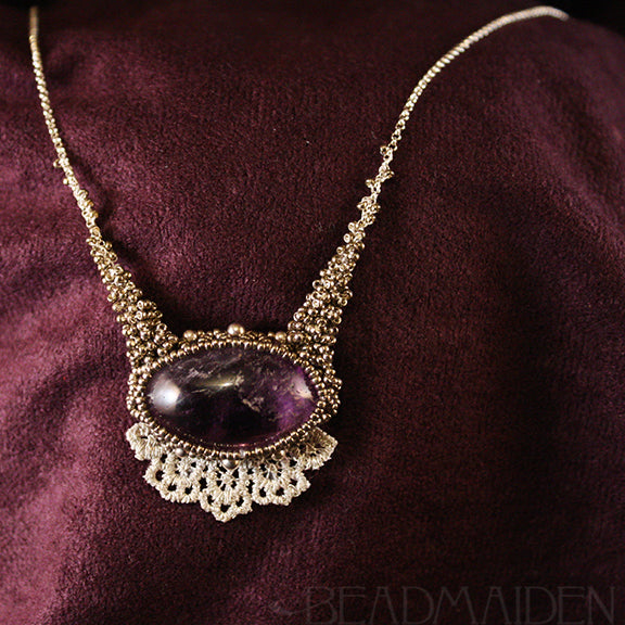 Woven Amethyst Necklace with Lace