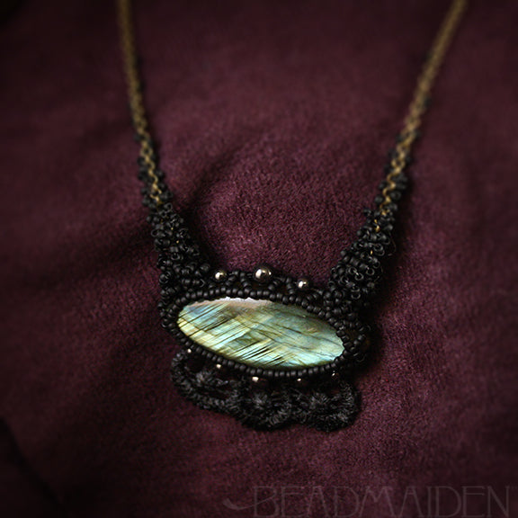 Labradorite Marquise Beadwoven Necklace with Lace