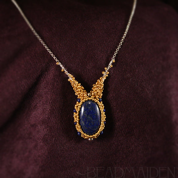 Lapis Lazuli Beadwoven Necklace with 24k Gold