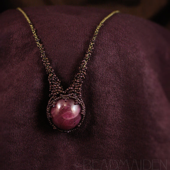 Beadwoven Ruby Necklace