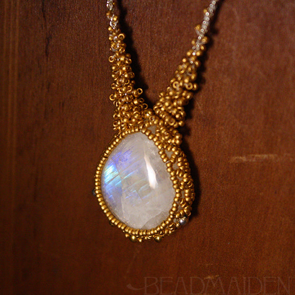 Beadwoven Rainbow Moonstone Necklace with 24k Gold