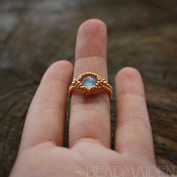 Rose cut Rainbow Moonstone beadwoven ring in 24k and 18k gold