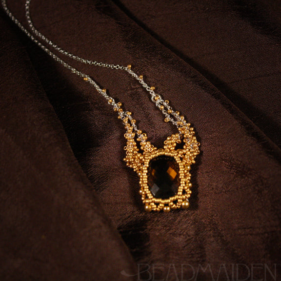 Smoky Quartz with 24k Gold Beadwoven Necklace