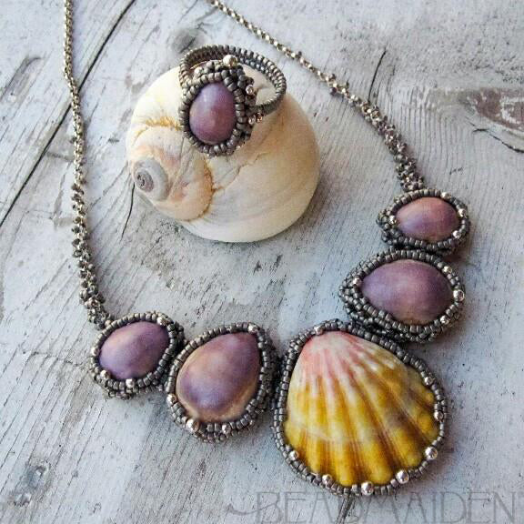 Hawaiian Sunrise Shell and Cowrie Necklace