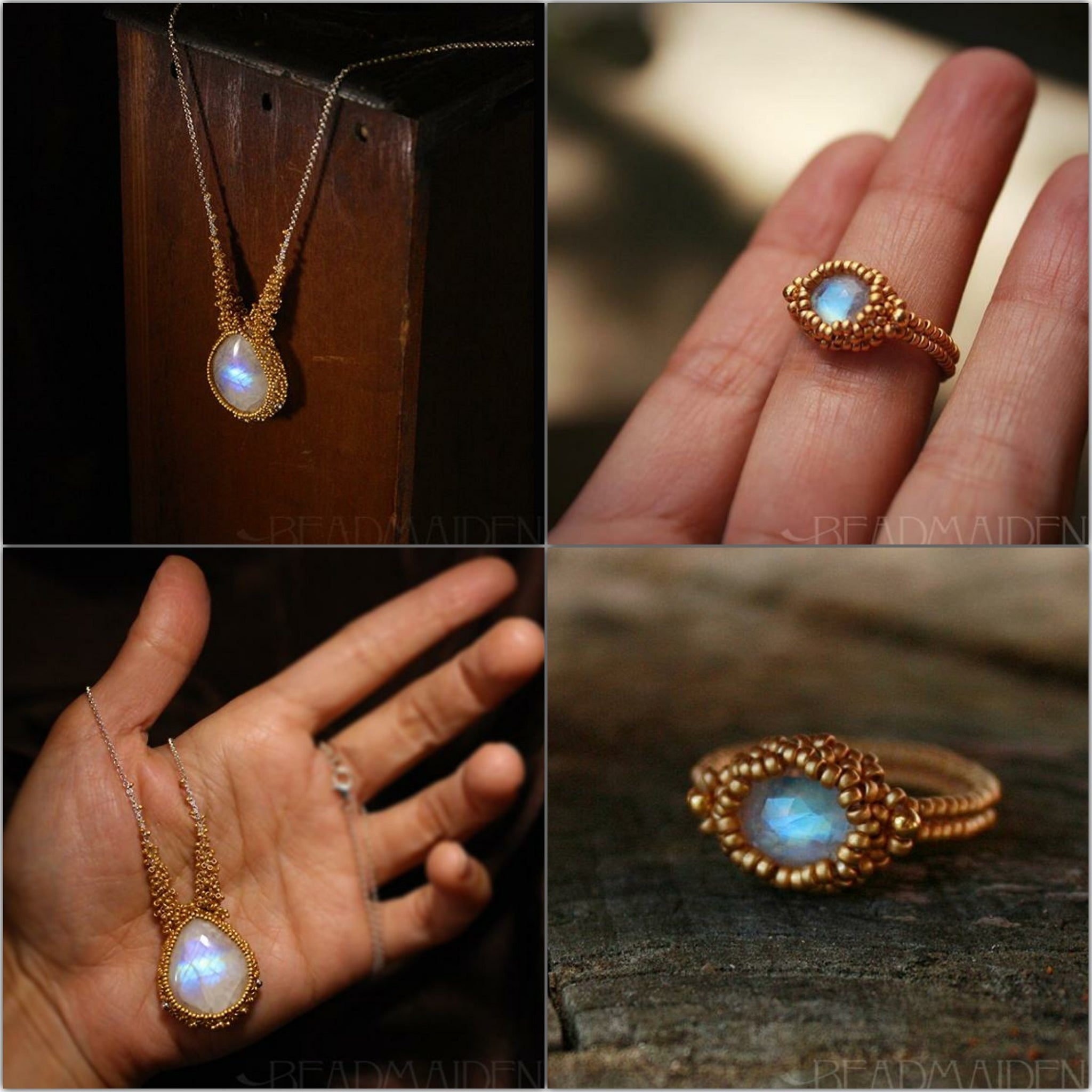 Rainbow Moonstone ring and necklace set in 24k and 18k gold.