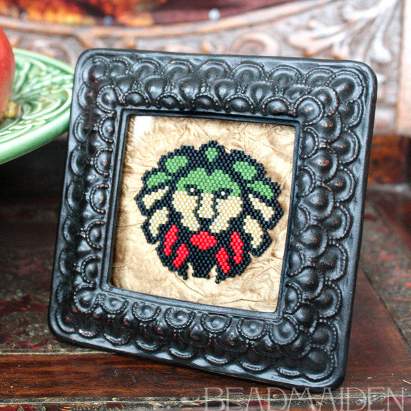 Framed Lion Beadwoven Art
