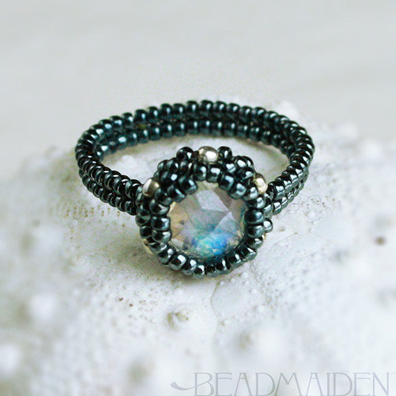 Beadwoven Rose Cut Rainbow Moonstone Ring
