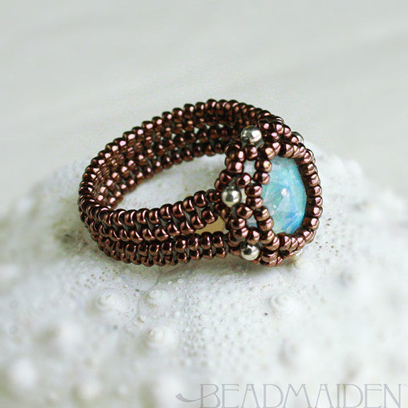 Beadwoven Faceted Rainbow Moonstone Herringbone Ring