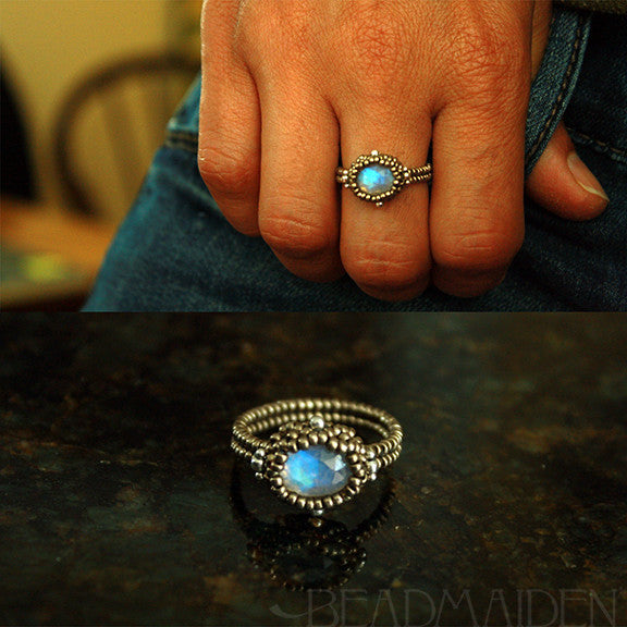 Beadwoven Rainbow Moonstone Oval Ring