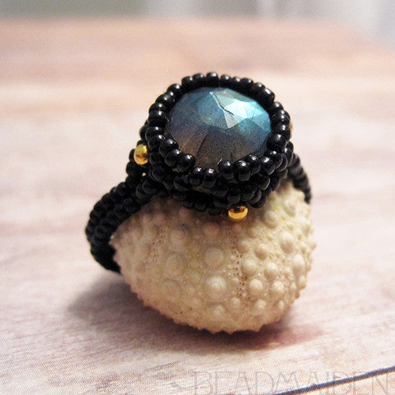 Beadwoven Labradorite Ring with 18K Gold