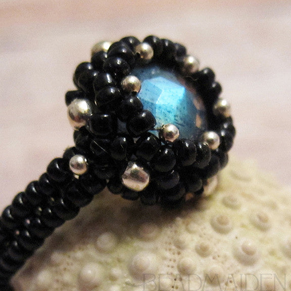 Beadwoven Rose Cut Labradorite Ring