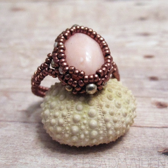 Beadwoven Pink Opal Ring