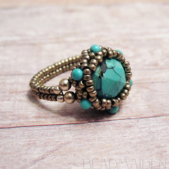 Beadwoven Turquoise Ring with Turquoise Accents