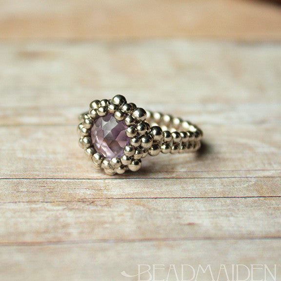 Beadwoven Sterling Silver Pink Amethyst Ring