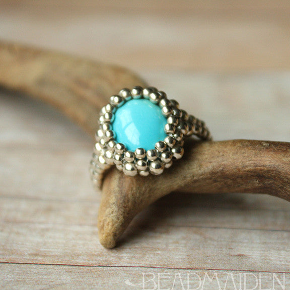Beadwoven Sleeping Beauty Turquoise Ring