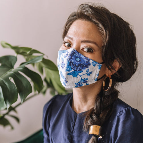 Dahlia Blue Cotton Face Mask