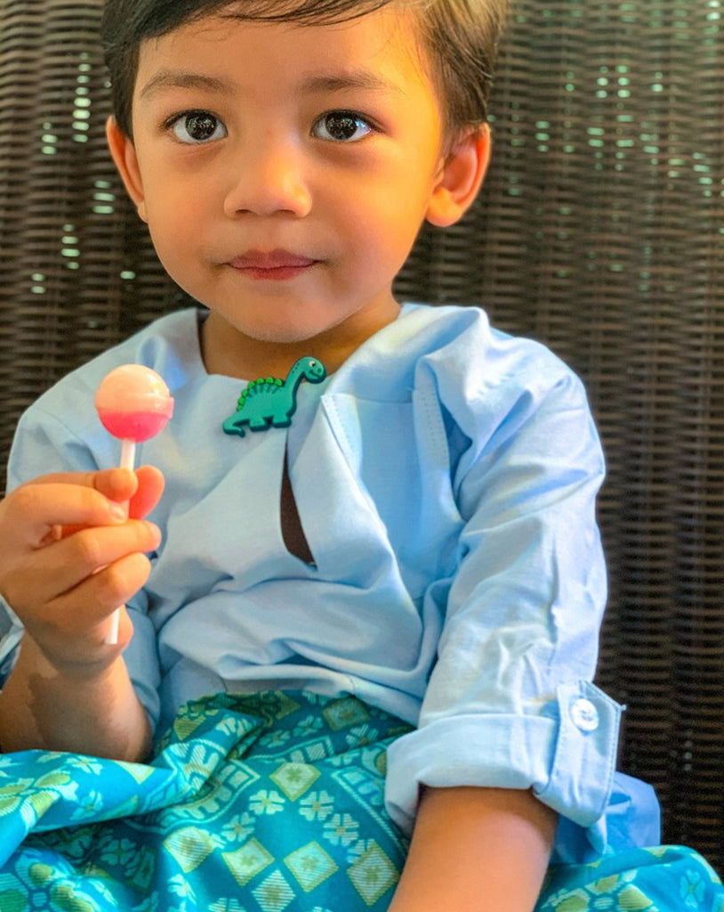 Kids Baju Melayu (1Y-5Y) - Light Blue (Sampin sold separately)