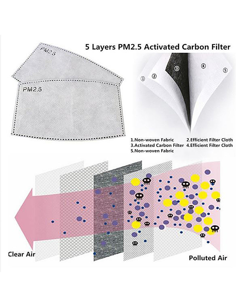 PM2.5 Filters for Cotton Face Masks - 50 Pack