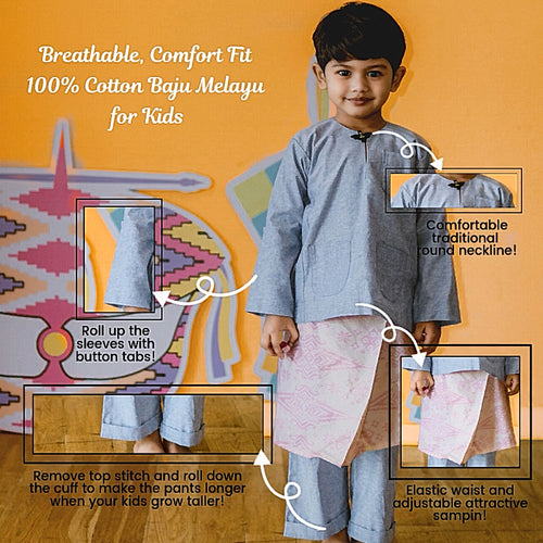 Kids Baju Melayu (1Y-5Y) - Mint Green (Sampin sold separately) SOLD OUT