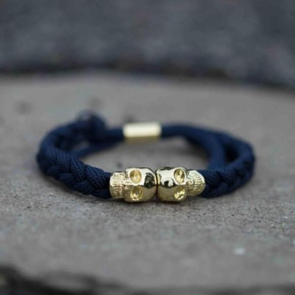 Skull Rope Bracelet - Dark Blue and Gold