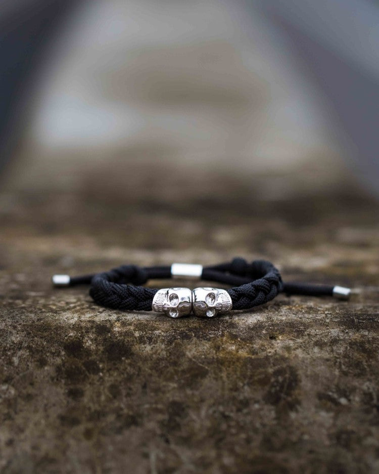 Skull Rope Bracelet - Black and Silver