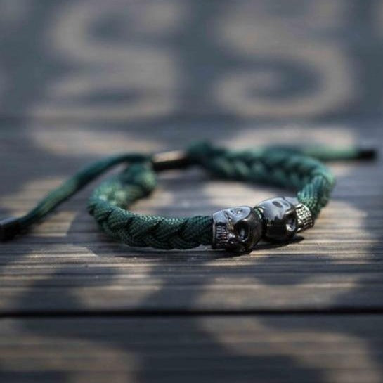 Skull Rope Bracelet - Dark Green and Black