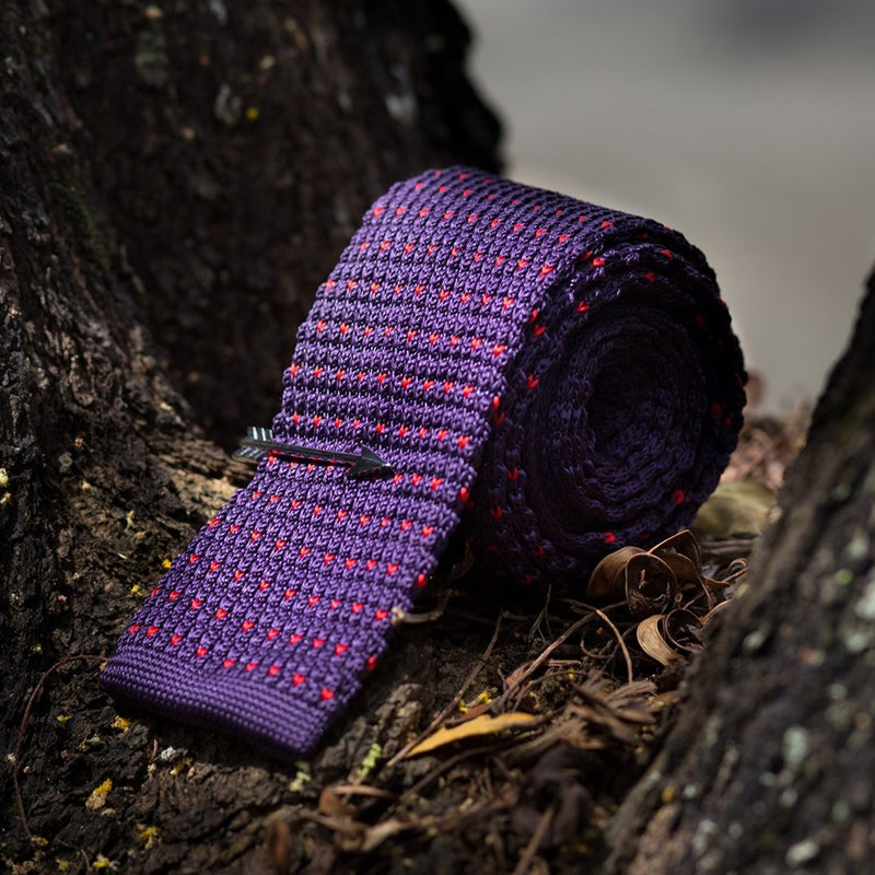 Purple Red Arrow Knitted Tie