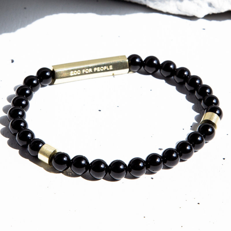 Shiny Onyx Gemstone x Gold 6 Bead Bracelet