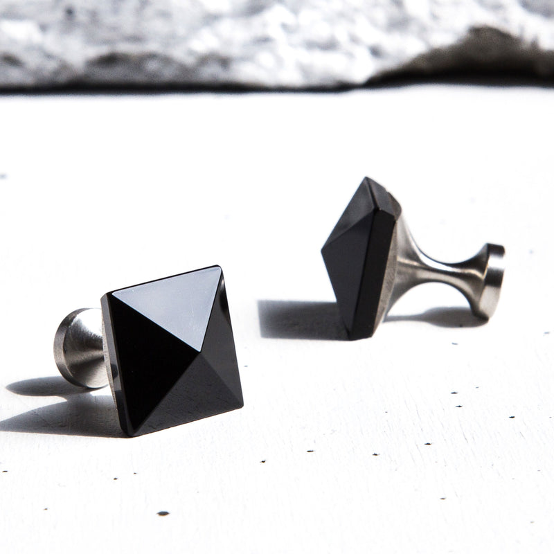 Shiny Black Gemstone Cufflinks