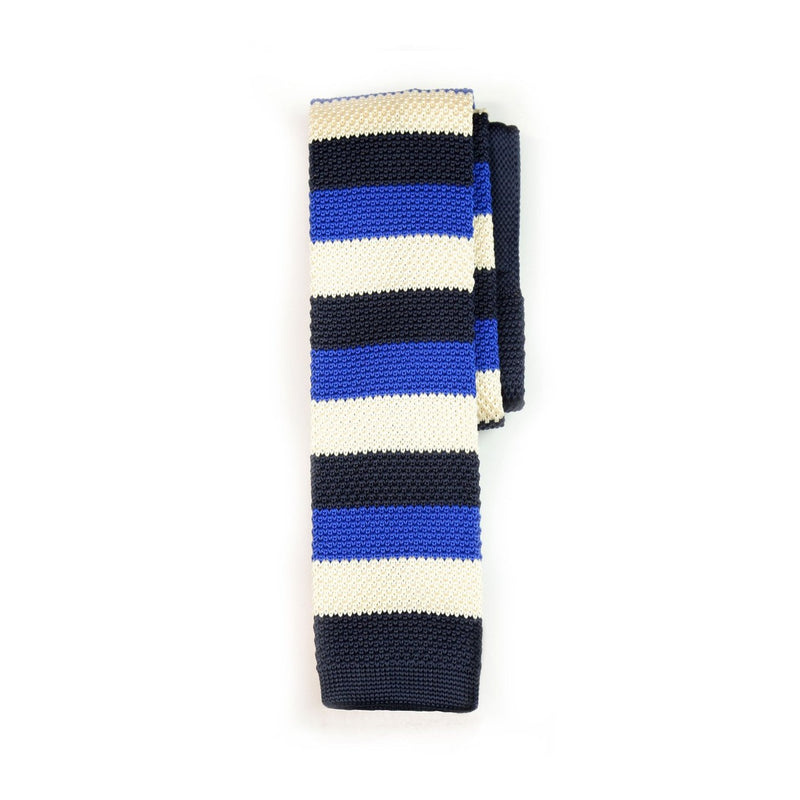 Navy White Stripe Knitted Tie