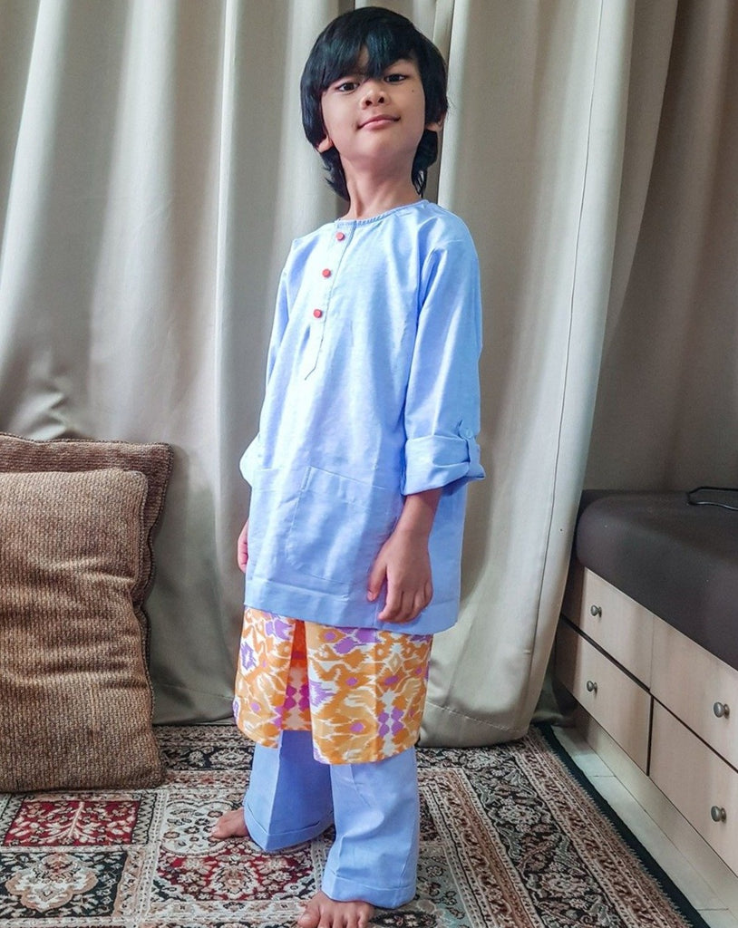 Kids Baju Melayu (6Y-7Y) - Light Blue (Sampin sold separately)