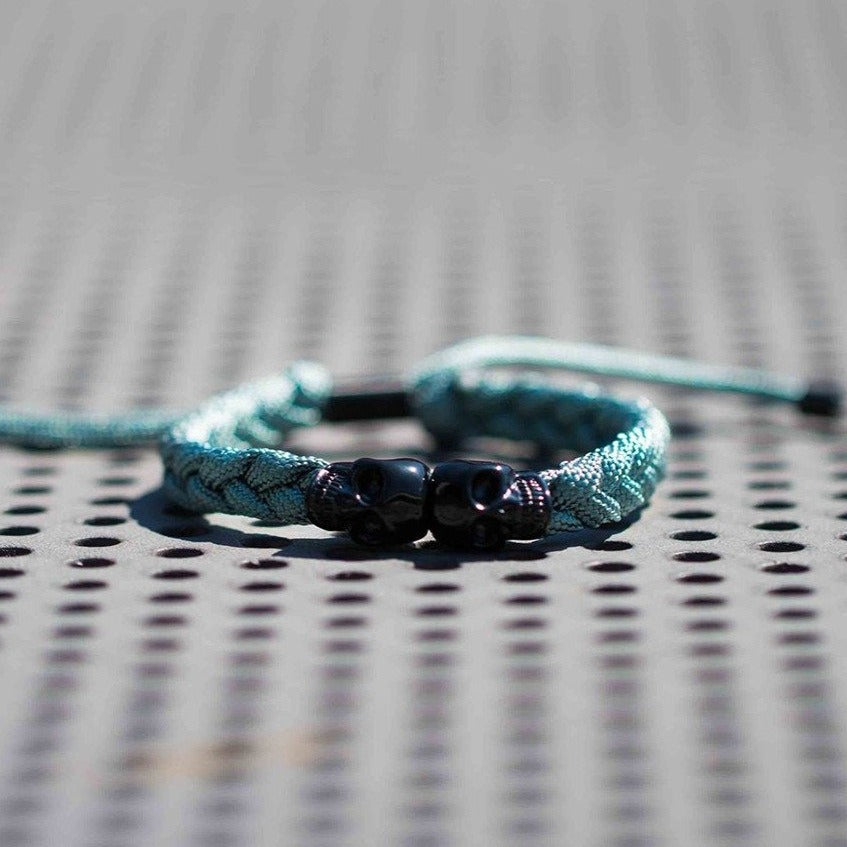 Skull Rope Bracelet - Ash and Black
