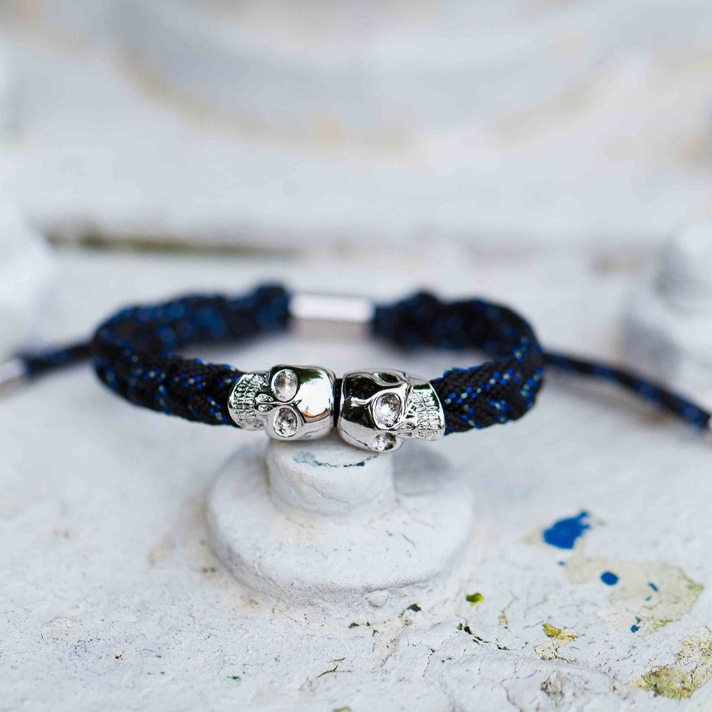 Skull Rope Bracelet - Midnight Nova and Silver