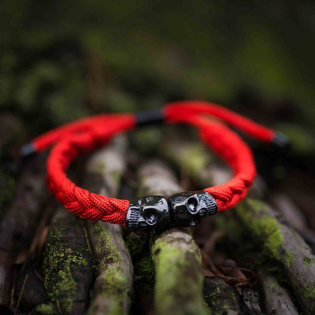 Skull Rope Bracelet - Red and Black