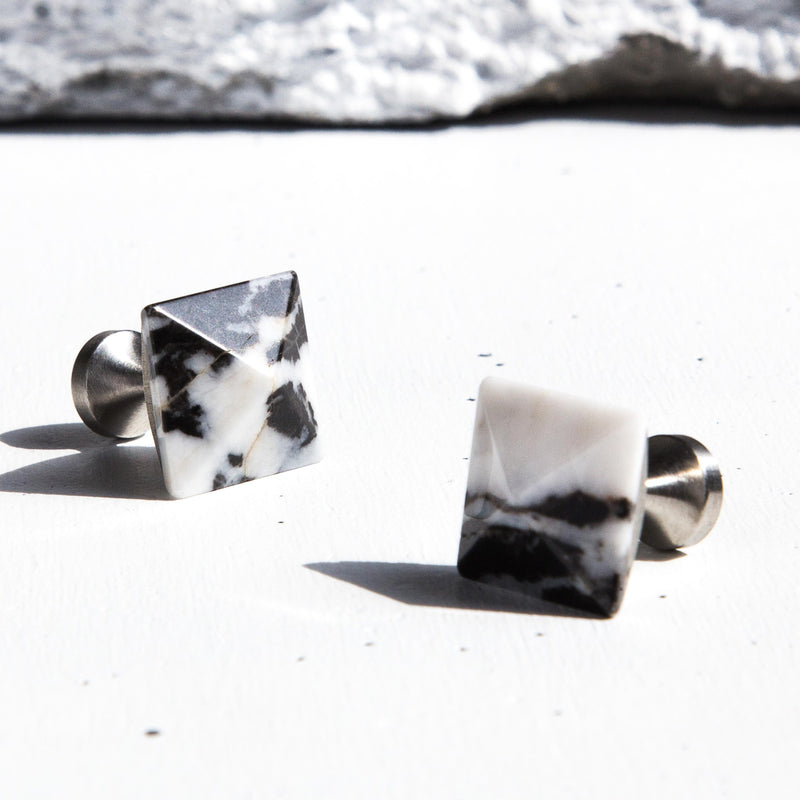 Black White Gemstone Cufflinks