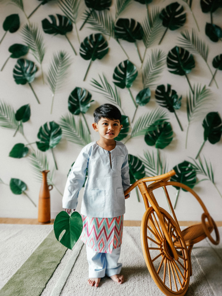 Kids Baju Melayu (1Y-5Y) - Mint Green (Sampin sold separately)