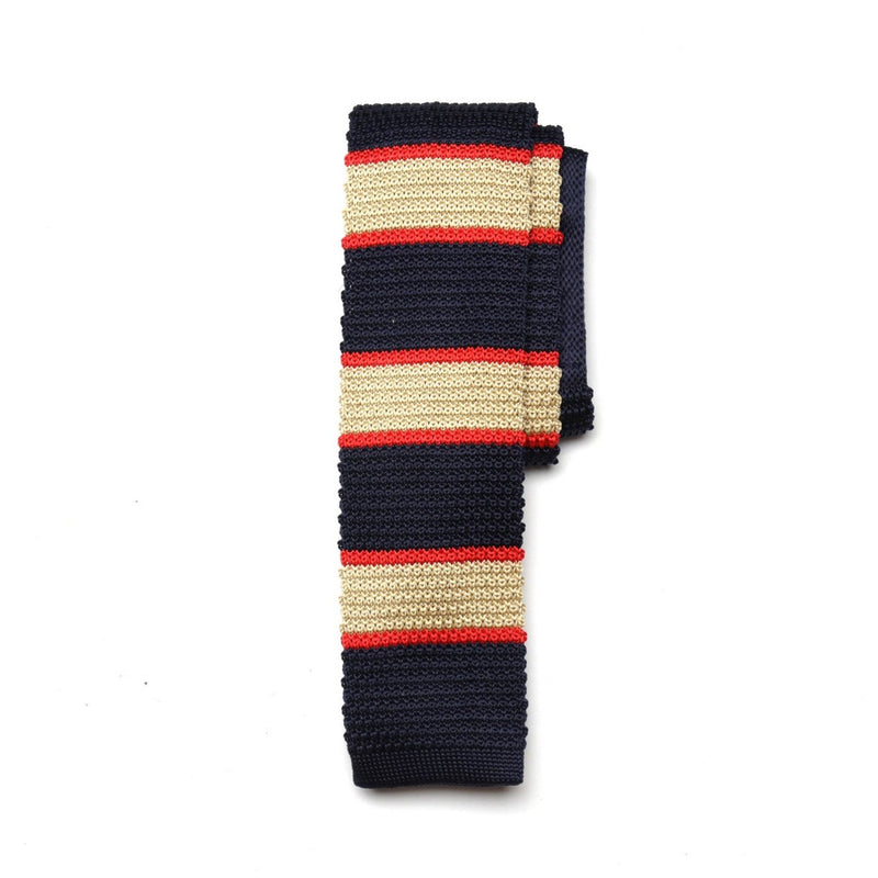 Navy Beige Stripe Knitted Tie