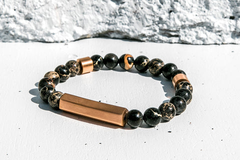 Kunai Leather Bracelet in Caramel x Black
