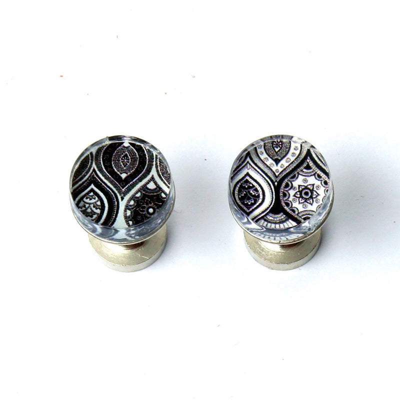 Black White Etch Cufflinks