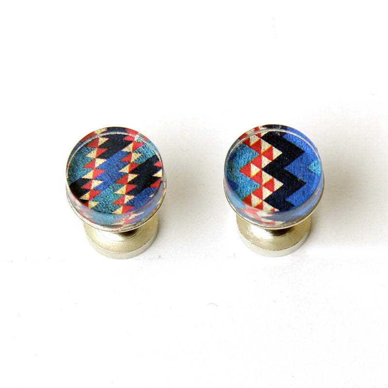 Blue Red Geo Cufflinks