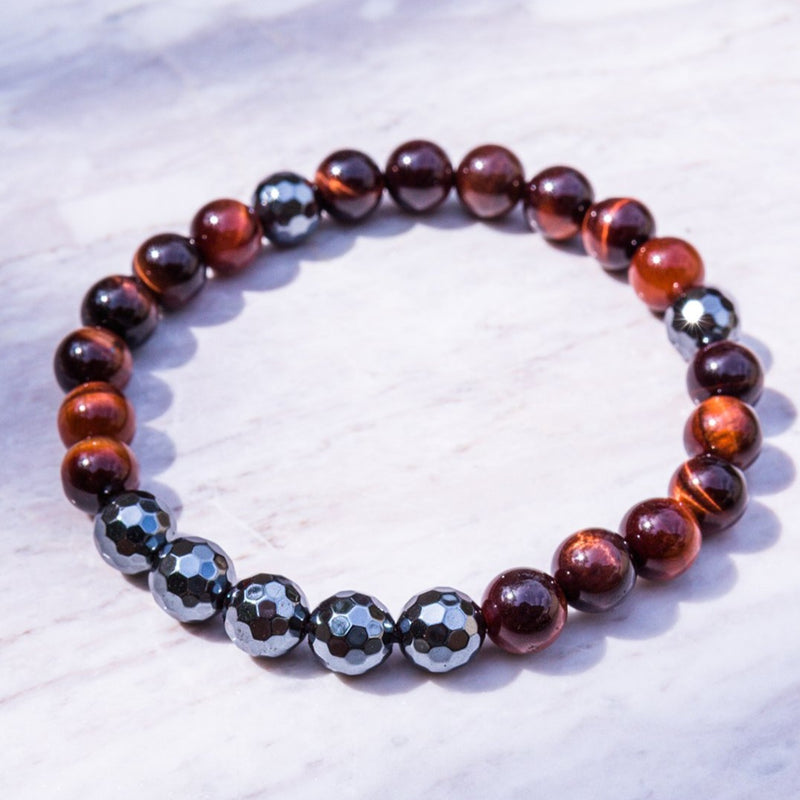 Red Tiger x Hematite Gemstone Bead Bracelet
