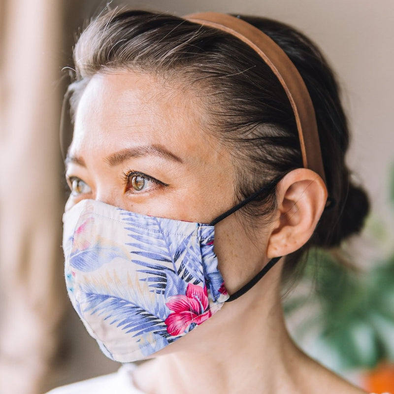 Cotton Face Mask - Hibiscus Ivory