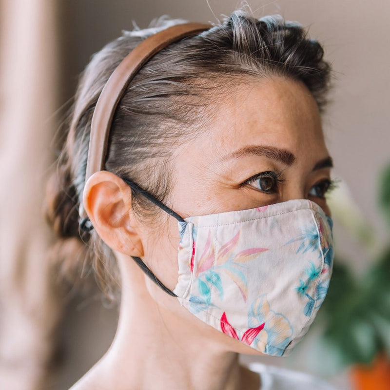 Hibiscus Ivory Cotton Face Mask